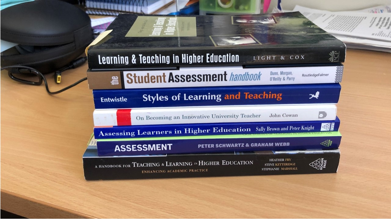 Image of books relating to assessment