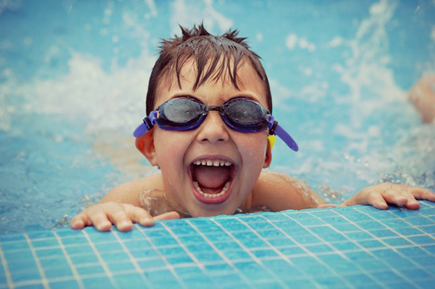 Photo of a child in a swimming pool