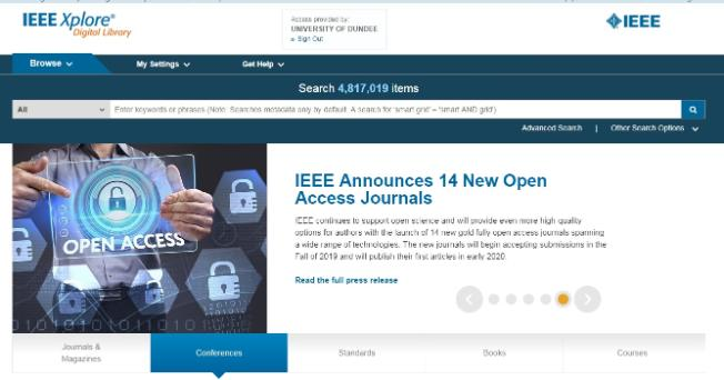 IEEE Digital Library main page