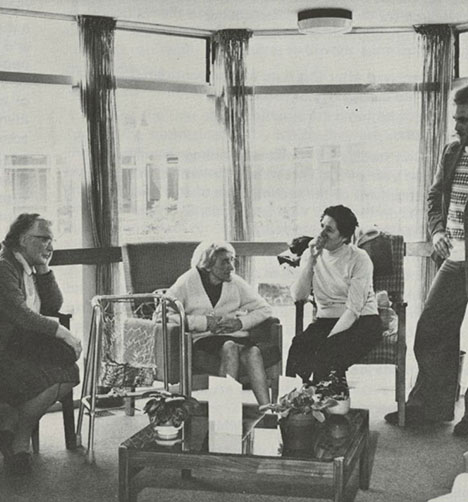 Social Work students visiting residents of a local care home, c.1982