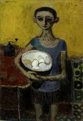 Boy with Bowl of Eggs by Alberto Morrocco