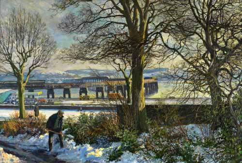 Tay Bridge, Winter by J McIntosh Patrick