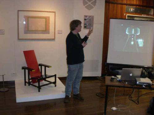 Jonathan Baldwin giving opening lecture at Design for Living exhibition