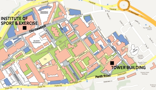 Map of the campus showing the venues for the Human Race exhibition