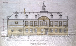 Architect's drawing of the Carnegie Building