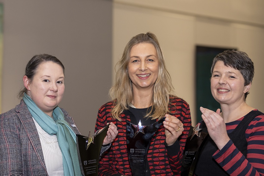 From L-R, Dr Senga Robertson-Albertyn (Engaged Early Career Researcher), Prof Mel Woods (GROW Observatory - Public EngagementProject of the Year) and Dr Amy Rogers (Engaged Researcher of the Year).