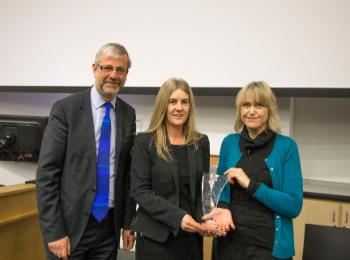 Prof Sir Pete Downes awards the 2017 Stephen Fry Awards for Public Engagement Project of the Year to Prof Lorraine van Blerk and Janine Hunter from the Growing Up on the Streets project