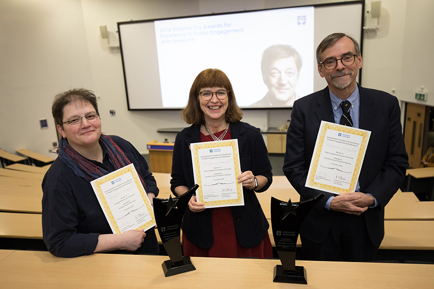 A photograph of the 2019 Stephen Fry Award winners for Excellence in Public Engagement with Research (Left to right)Prof Niamh Nic Daeid, Prof Annie Anderson and Prof Bob Steele.