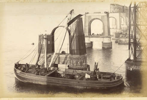 Tay Bridge being erected