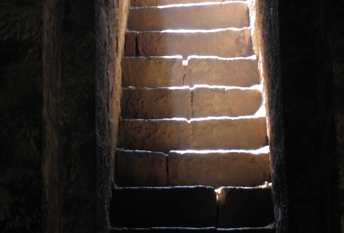 Stone steps with sunlight