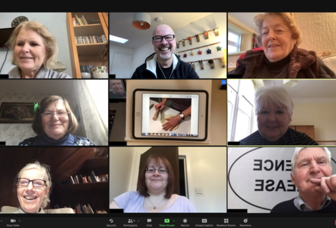 Tap and Talk aphasia iPad group zoom sessions showing everyone on their webcams