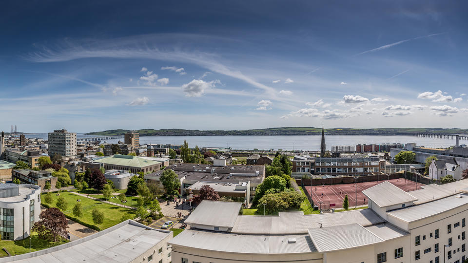 View over University campus to River Tay