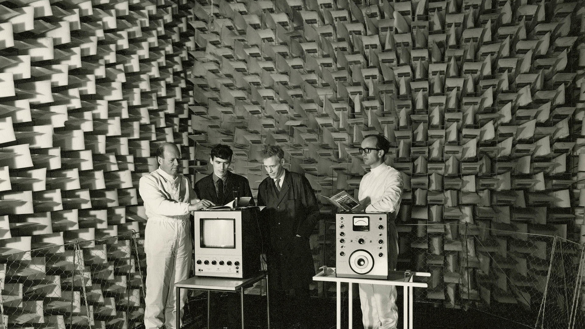 The flat TV group in the anechoic chamber, 1970s, University of Dundee archives