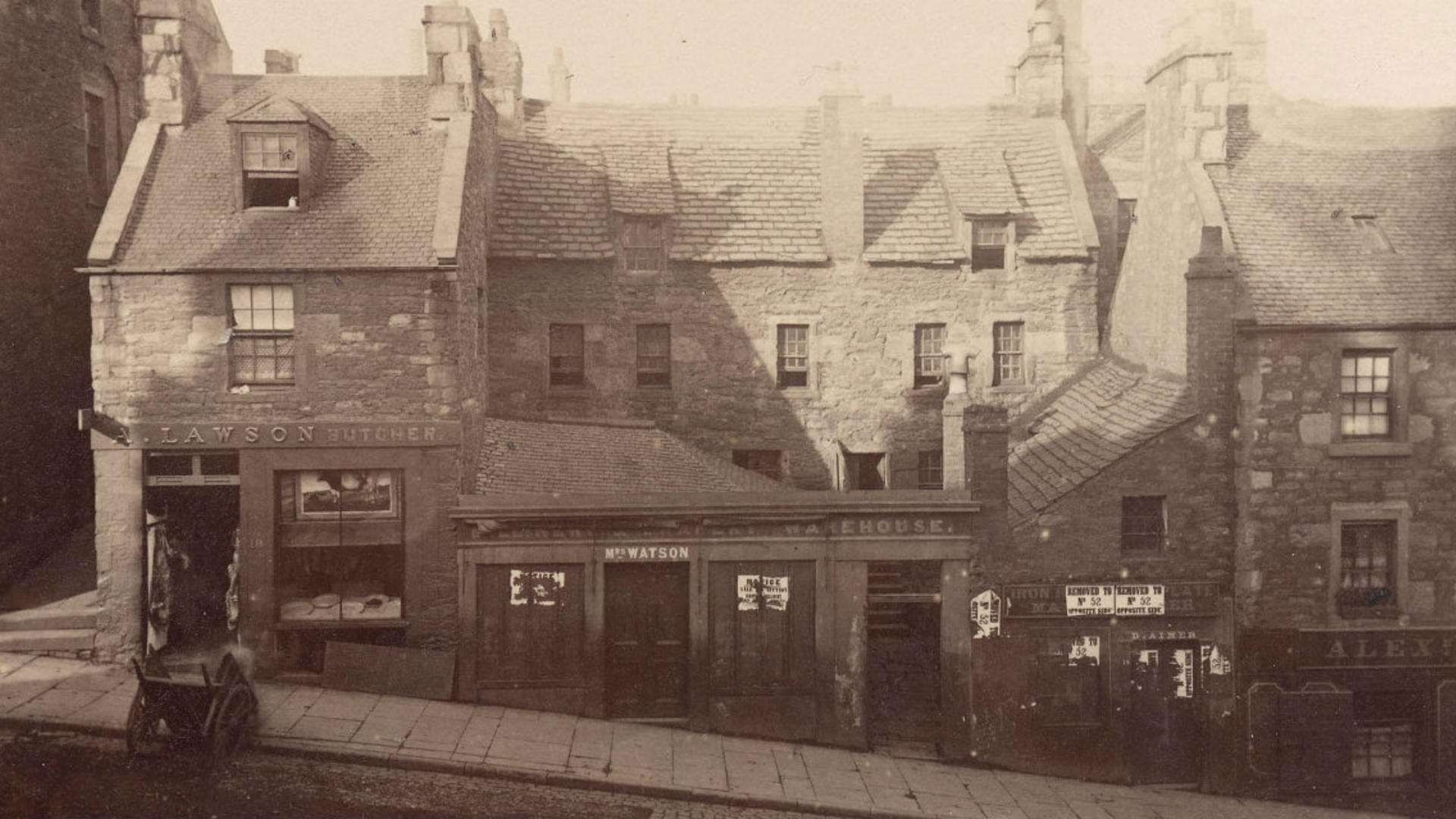 Image of old shop fronts in the Hilltown area of Dundee