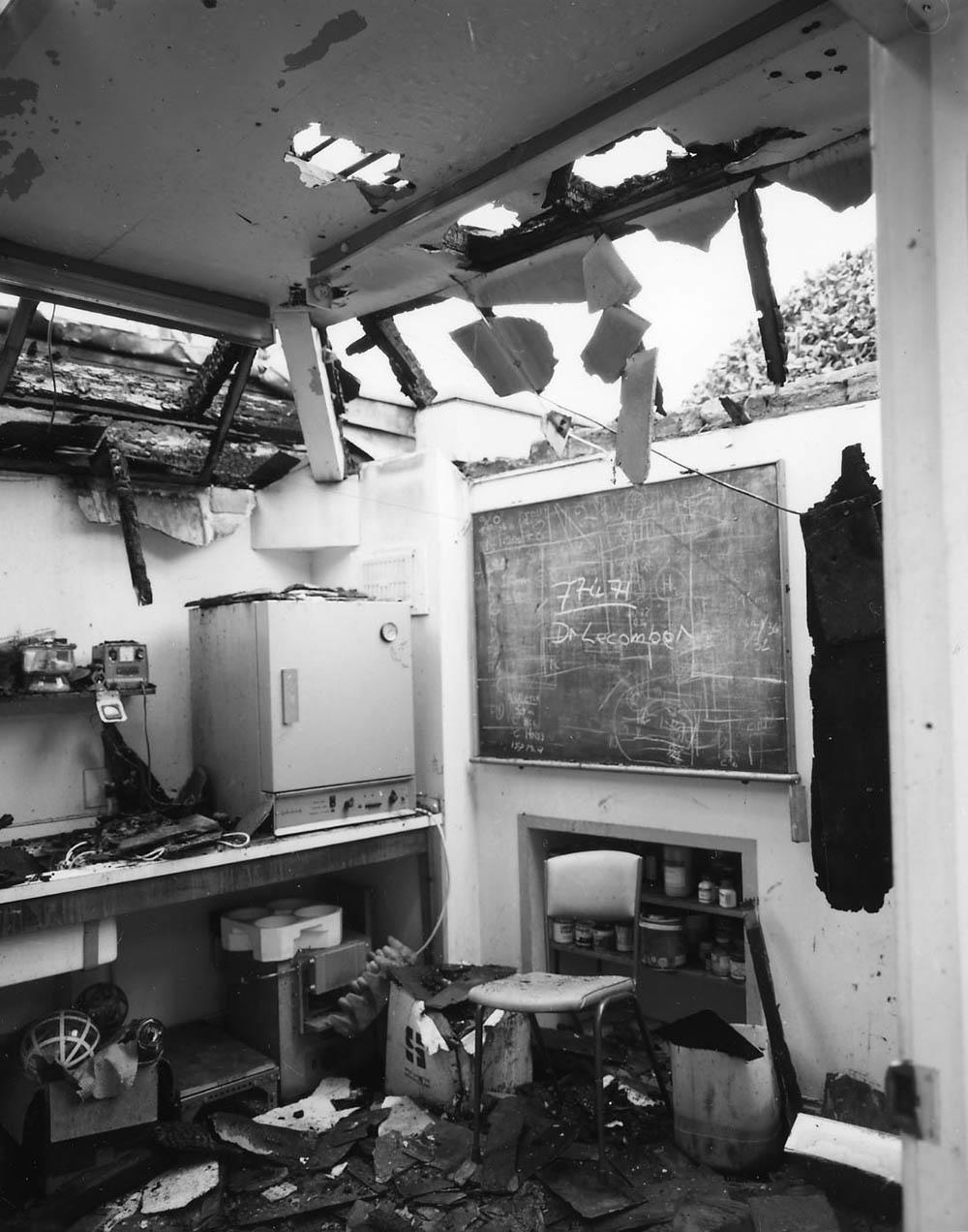 Fire damage at the University of Dundee Physics department, 1983